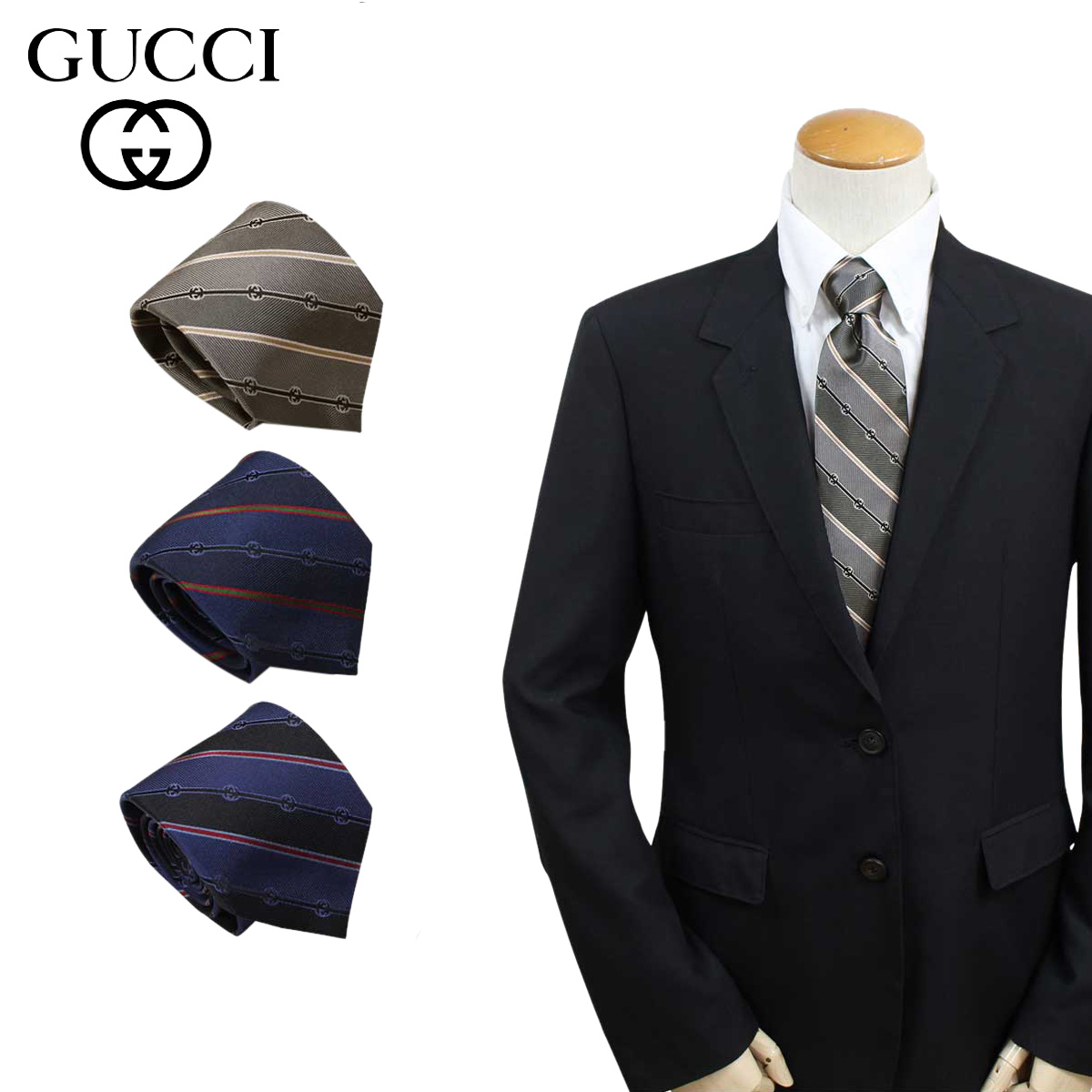 GUCCI TIE グッチ ネクタイ イタリア製 シルク ビジネス 結婚式 メンズ [184]