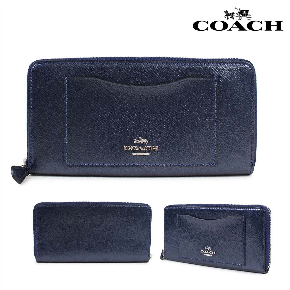 81ead1e64 COACH CROSS GRAIN LEATHER ACCORDION ZIP AROUND coach wallet long wallet  Lady's round fastener leather navy ...