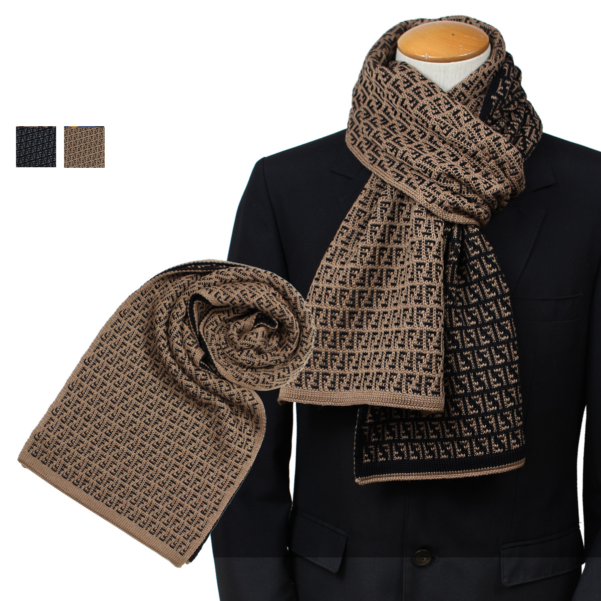 6059556d4e3 ... new zealand fendi fxs124 i17 fendi scarf men wool black brown 9 26  shinnyu load 189