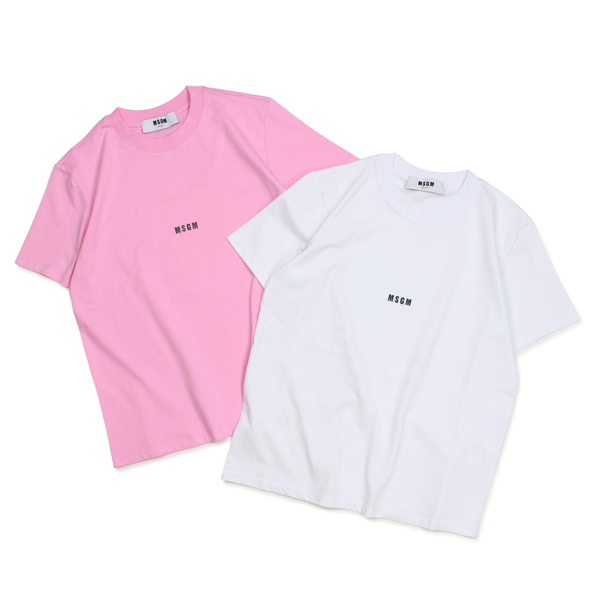 MSGM MICRO LOGO T-SHIRT Tシャツ レディース エムエスジーエム 半袖 ホワイト ピンク 2541MDM100 184798