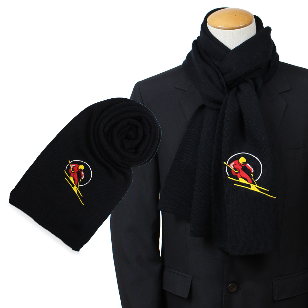 Ralph Pc0278110 Shinnyu Load191 Skier Lauren Men Polo Retro Black Wool Scarf Red DHIWE92Y