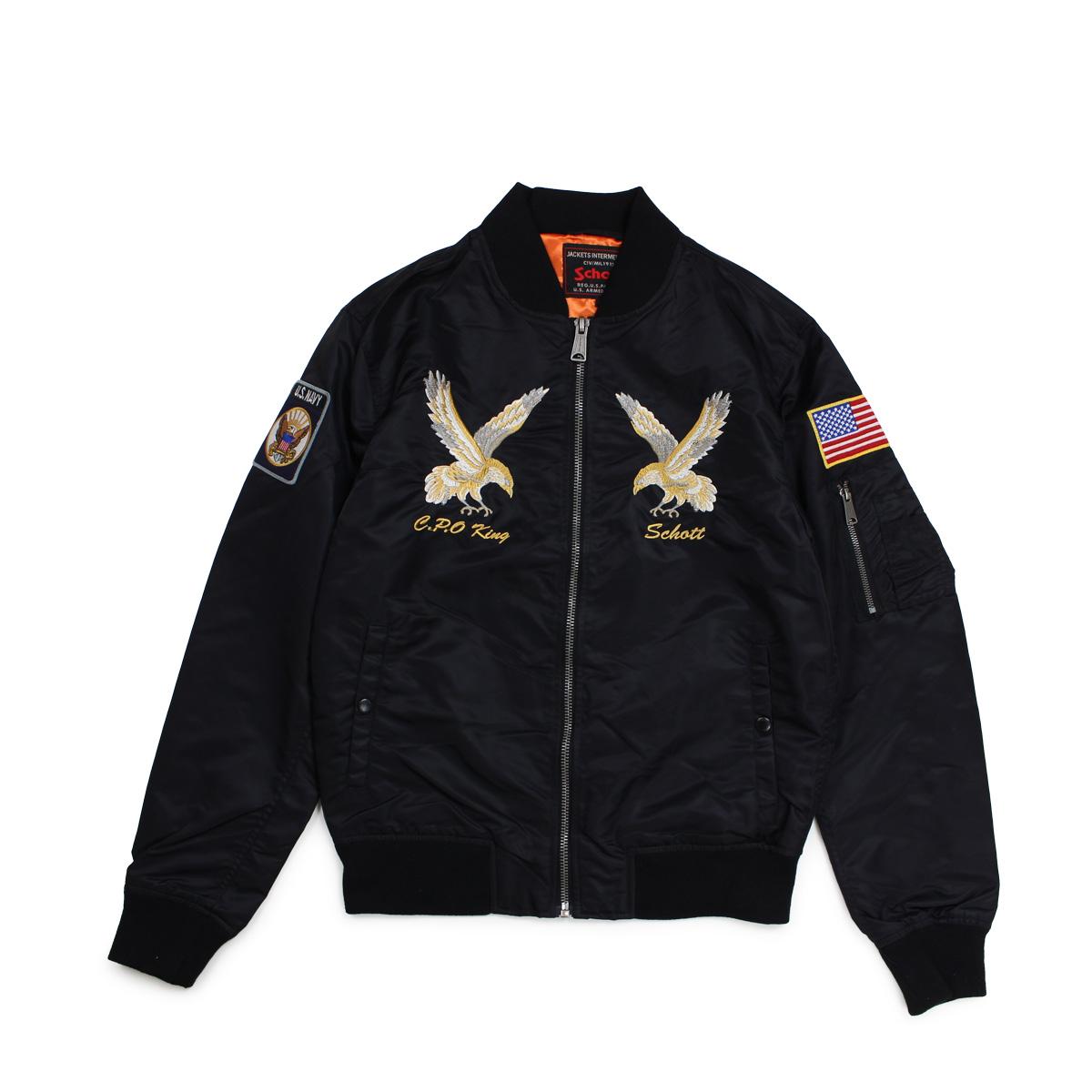 Schott NYLON MA-1 FlIGHT JACKET ショット ジャケット MA1 ナイロンジャケット メンズ ブラック 9722