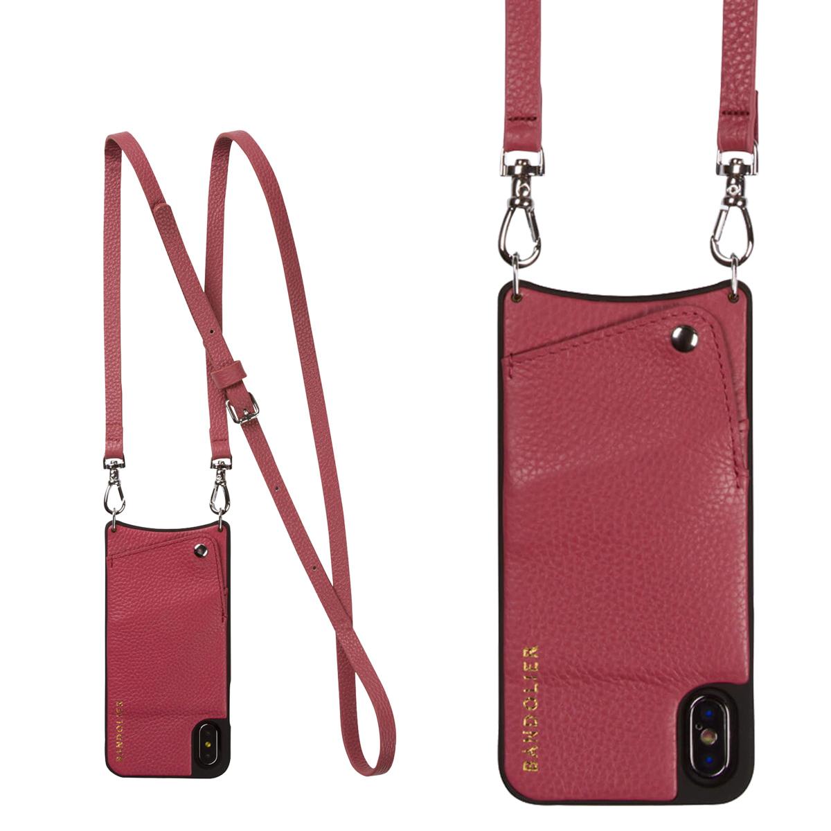 BANDOLIER iPhone XS MAX EMMA MAGENTA RED バンドリヤー ケース ショルダー スマホ アイフォン レザー メンズ レディース マゼンタ レッド 10EMM1001 [4/18 再入荷][194]