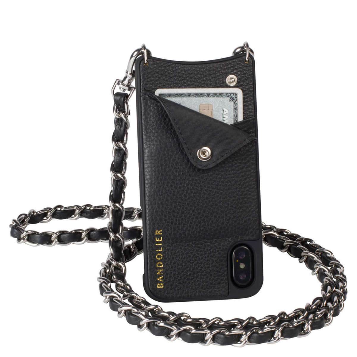 BANDOLIER iPhone XS MAX LUCY SILVER バンドリヤー ケース ショルダー スマホ アイフォン レザー メンズ レディース ブラック 10LCY1001