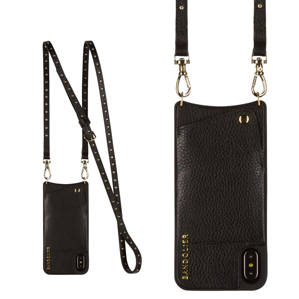 BANDOLIER iPhone XS X NICOLE GOL バンドリヤー ケース ショルダー スマホ アイフォン レザーD メンズ レディース ブラック 10NIC1001