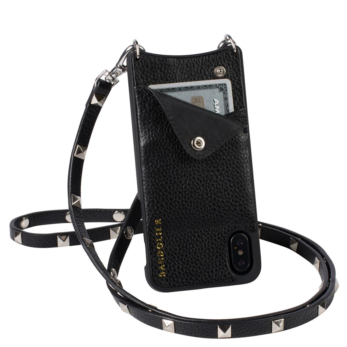 BANDOLIER iPhone XS MAX SARAH SILVER バンドリヤー ケース ショルダー スマホ アイフォン レザー メンズ レディース ブラック 10SAR1001