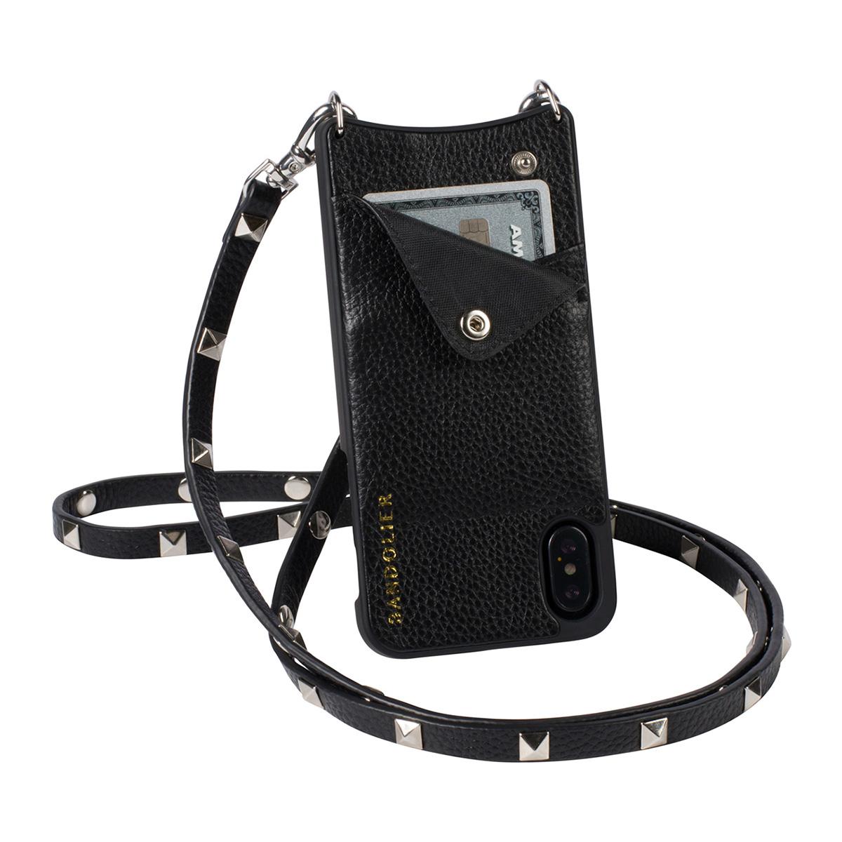 BANDOLIER iPhone XR SARAH SILVER バンドリヤー ケース ショルダー スマホ アイフォン レザー メンズ レディース ブラック 10SAR1001 [191]