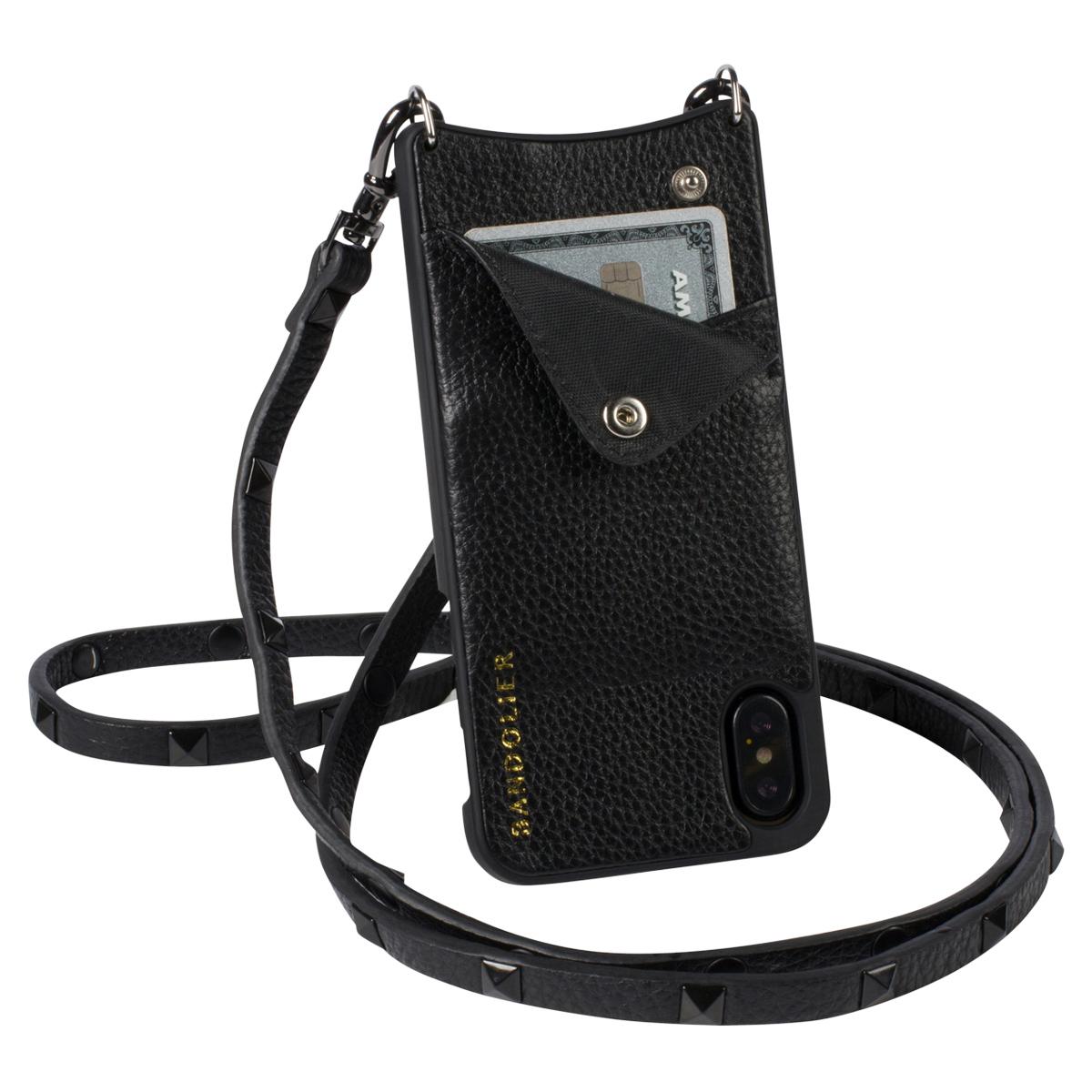 BANDOLIER iPhone XS MAX SARAH BLACK バンドリヤー ケース ショルダー スマホ アイフォン レザー メンズ レディース ブラック 10SAR1001 [4/18 再入荷][194]