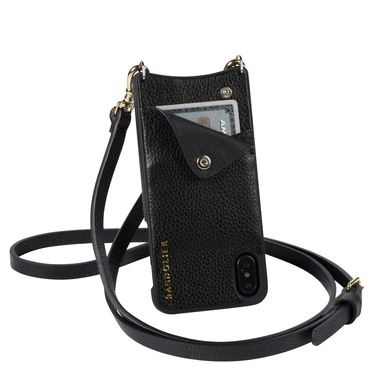 BANDOLIER iPhone XS MAX EMMA GOLD バンドリヤー ケース ショルダー スマホ アイフォン レザー メンズ レディース ブラック 10EMM1001