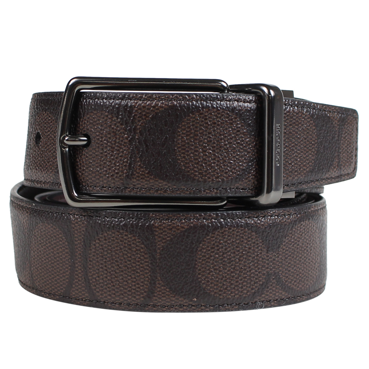 6404c12b [SOLD OUT] coach COACH men's belts leather belt reversible leather F64825  mahogany x Brown