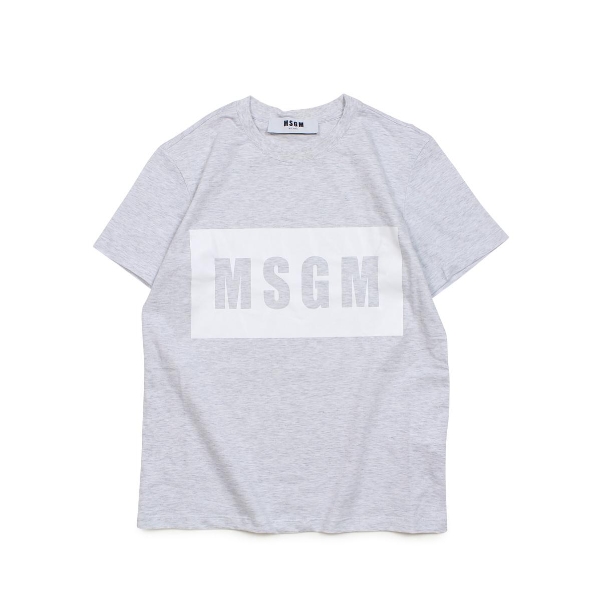 MSGM BOX LOGO T-SHIRTS エムエスジーエム Tシャツ 半袖 レディース グレー MDM95 94