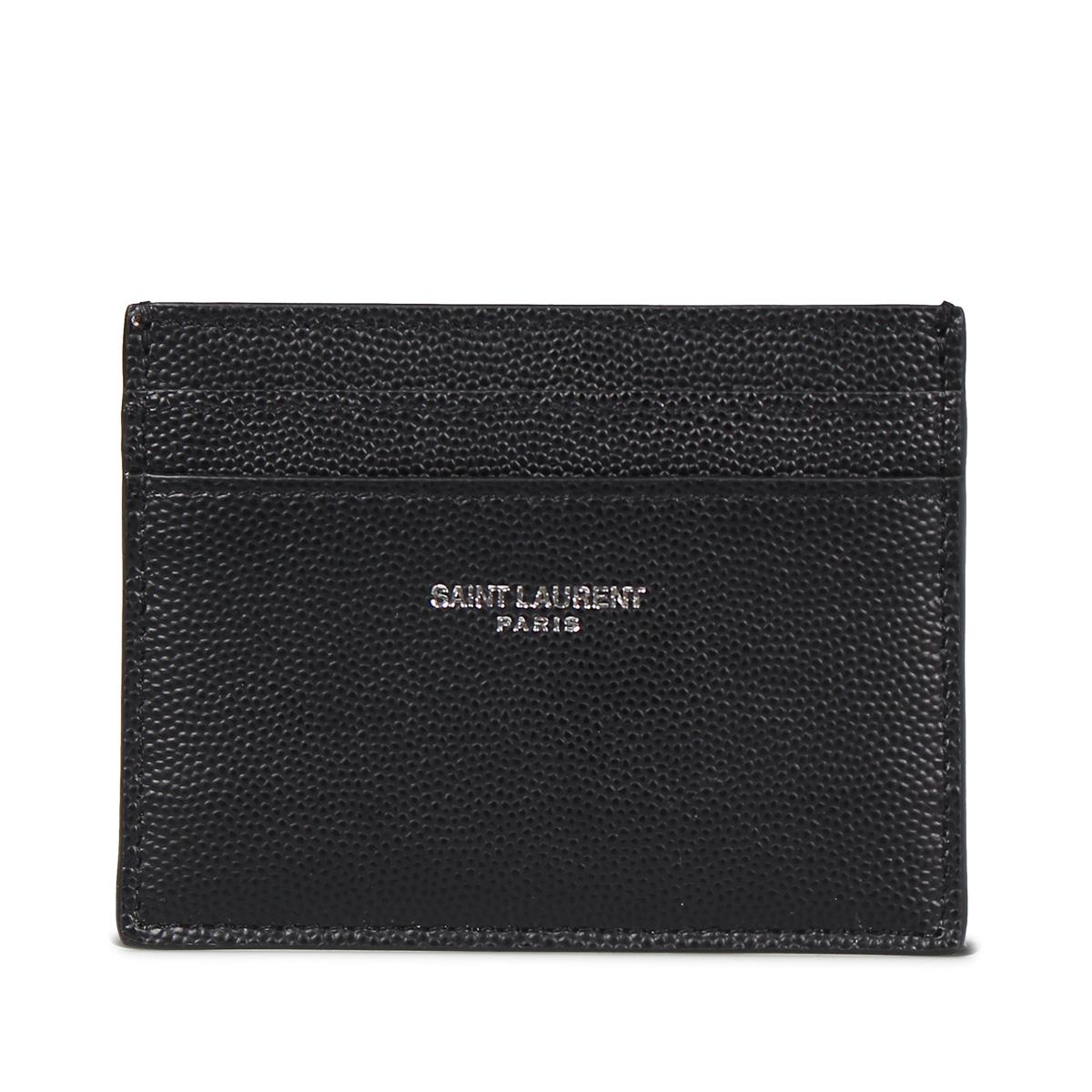 SAINT LAURENT PARIS YSL CREDIT CARD CASE サンローラン パリ パスケース カードケース ID 定期入れ メンズ 本革 ブラック 黒 375946BTY0N