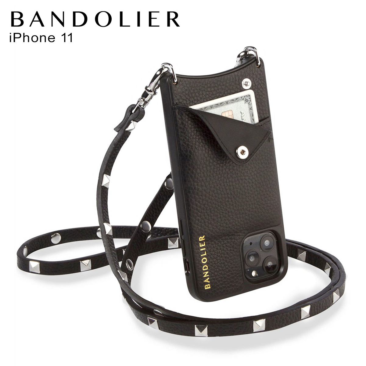 BANDOLIER SARAH SILVER バンドリヤー サラ シルバー iPhone11 ケース スマホ 携帯 ショルダー アイフォン メンズ レディース ブラック 黒 2013