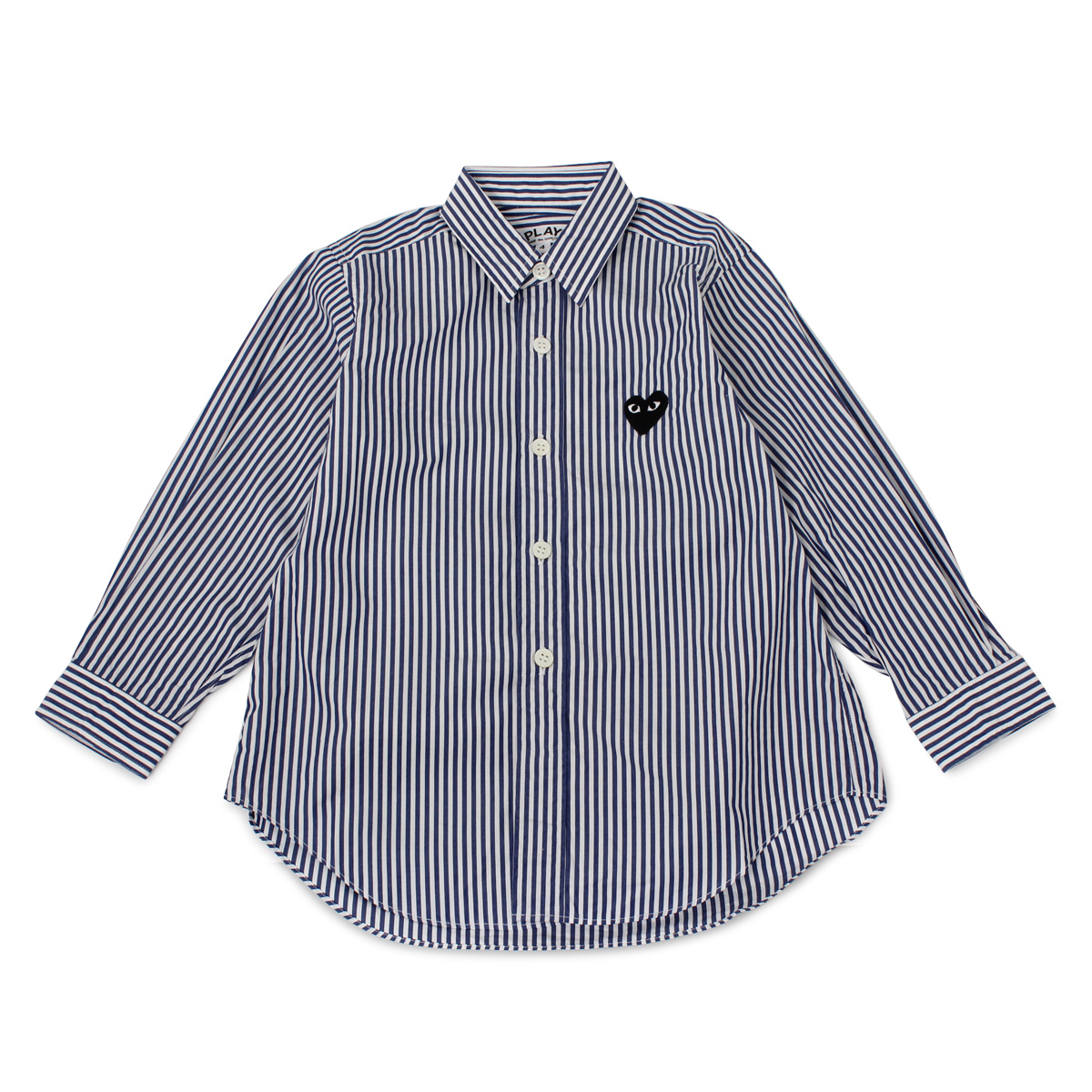 PLAY COMME des GARCONS BLACK HEART STRIPE SHIRT プレイ コムデギャルソン シャツ 長袖 ボタンシャツ キッズ ネイビー B5071001
