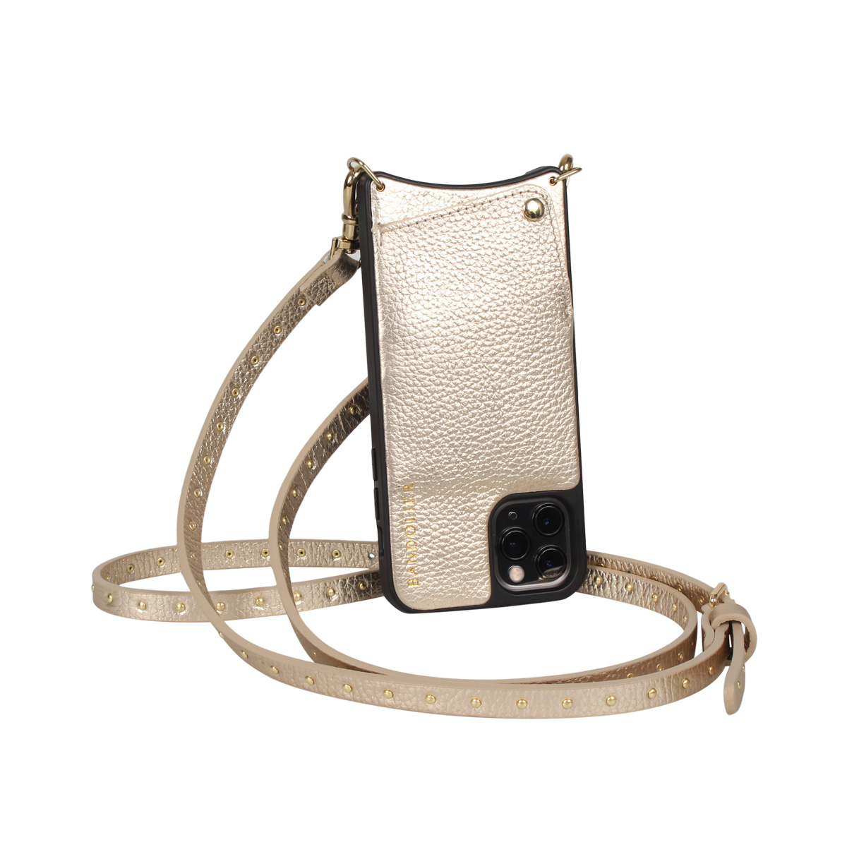 BANDOLIER NICOLE RICH GOLD バンドリヤー iPhone11 Proケース スマホ 携帯 ショルダー アイフォン メンズ レディース レザー ゴールド 10NIC