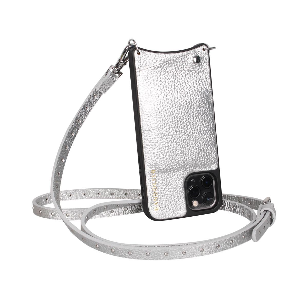 BANDOLIER NICOLE RICH SILVER バンドリヤー iPhone11 Pro MAX ケース スマホ 携帯 ショルダー アイフォン メンズ レディース レザー シルバー 10NIC