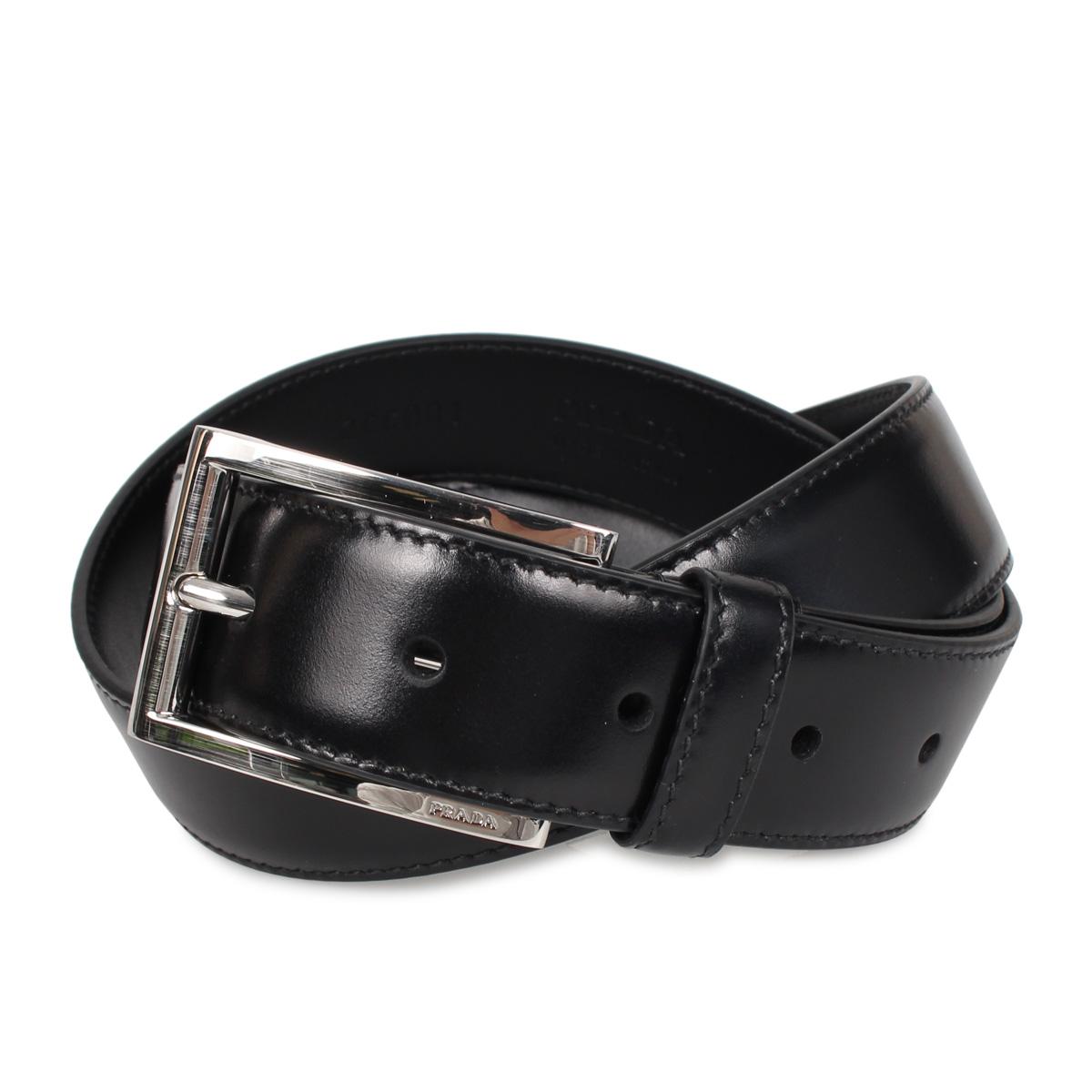 PRADA VITELLO LUX プラダ ベルト レザーベルト メンズ ブラック 黒 2CC001-X72