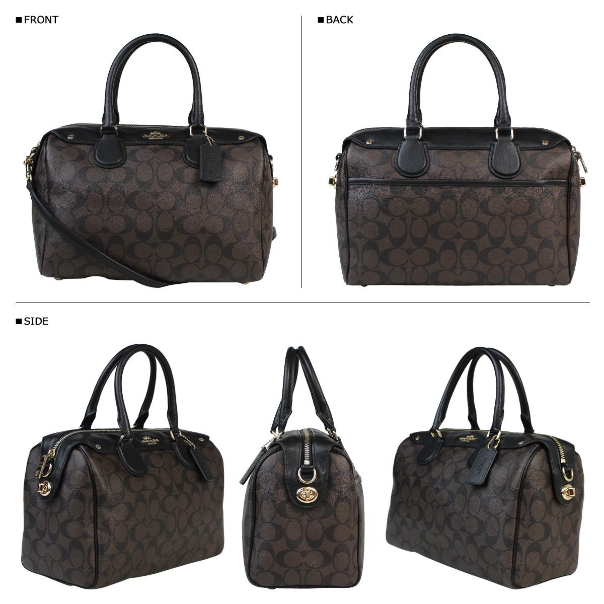 ... leather blush f27598 76109 55caf  czech coach coach womens boston bag  handbag 2 way f 36187 brown x black signature bennett db03fa110ddd3