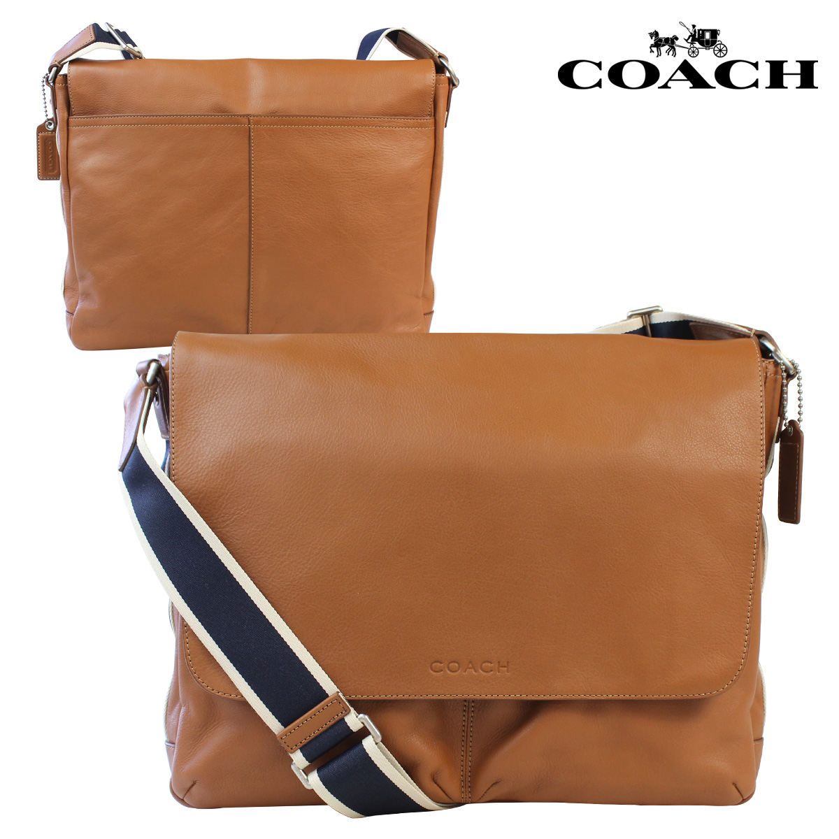 Coach Mens Messenger Bag Saddle Hwl Leather