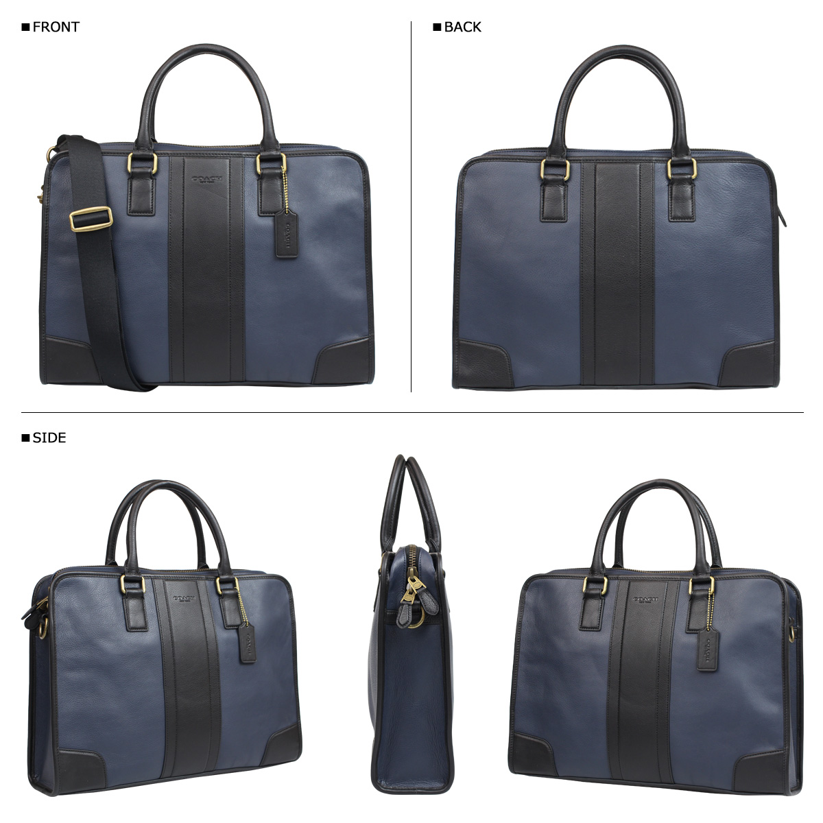 Coach COACH bag business bag Briefcase men's F71639 Navy / Black bomb leather Director's