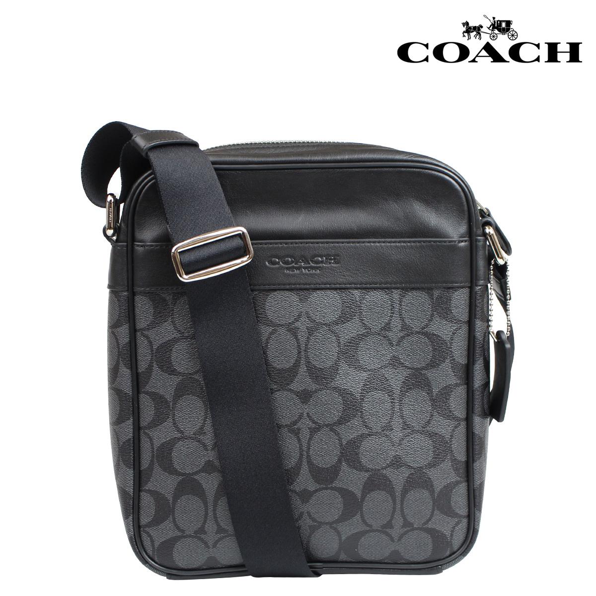 Coach Bag Shoulder Bags Mens F71764 Charcoal Black Signature Flight