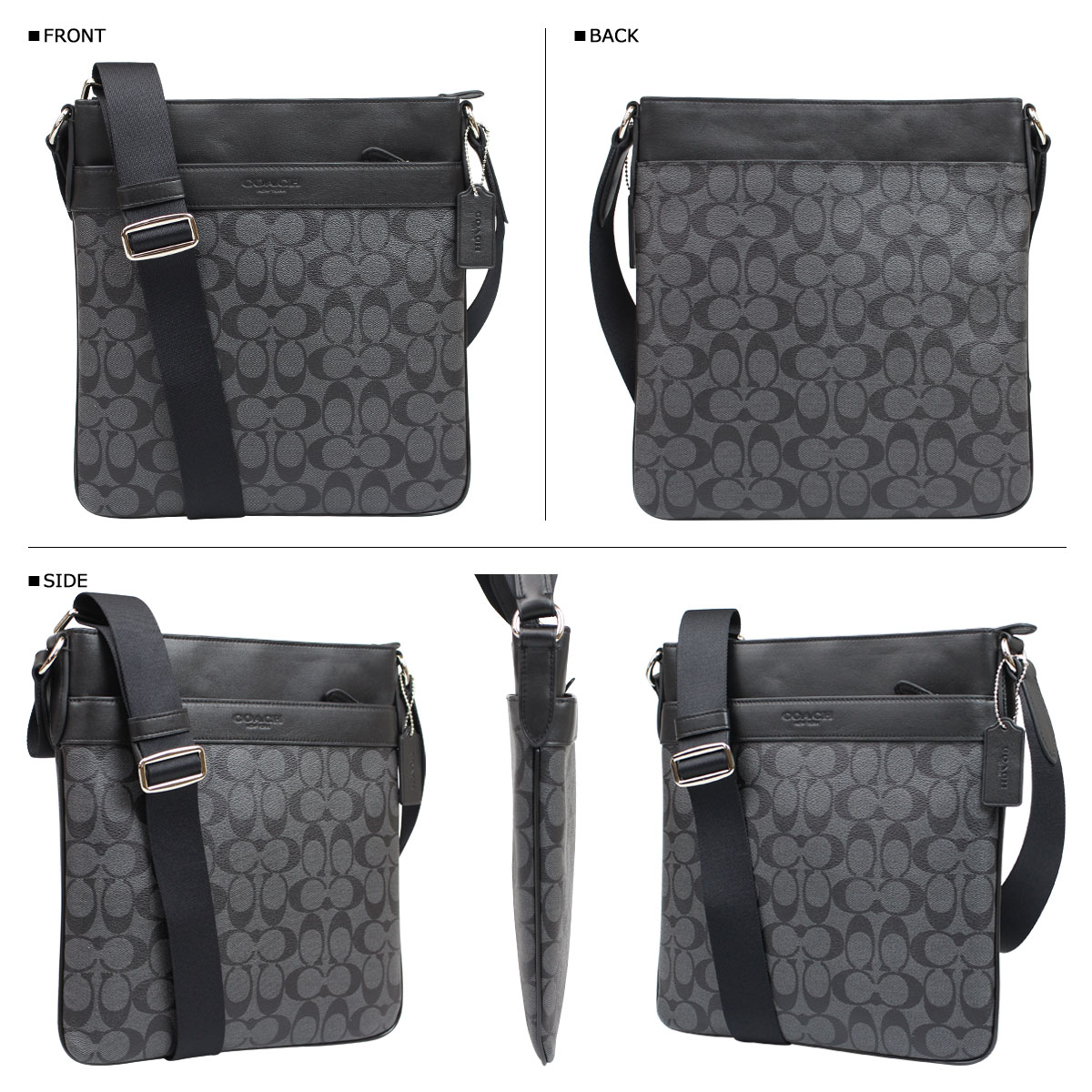 eb3f4b7c3 ... Coach COACH bag shoulder bags mens F71877 charcoal / black Bowery  signature cross body ...