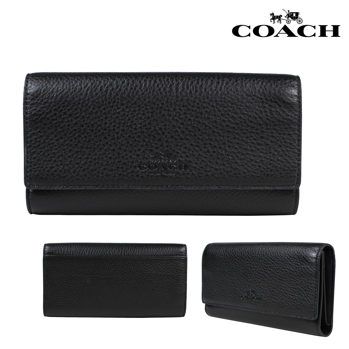buy popular a8632 78dd7 COACH coach wallet long wallet card case F53708 black Lady's