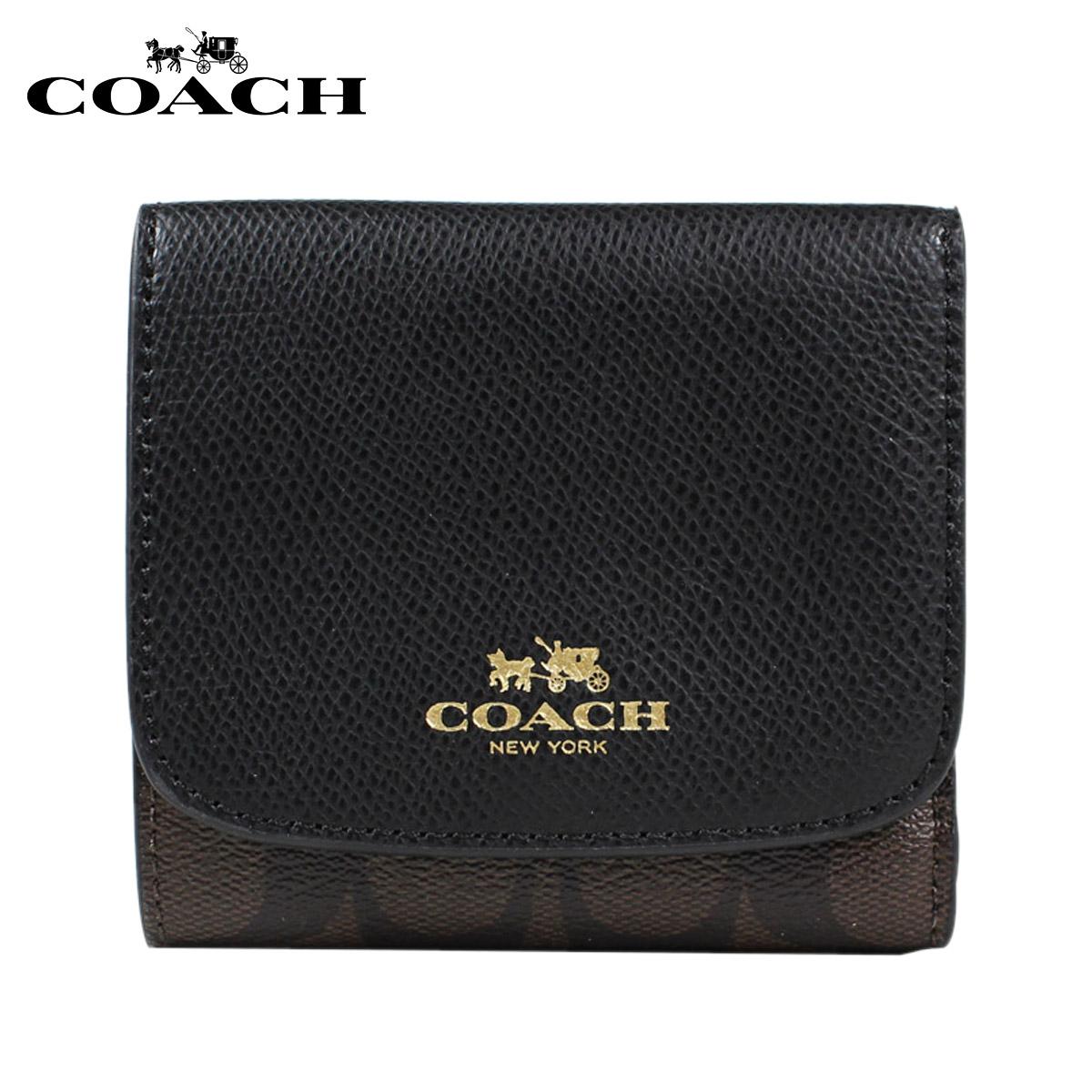 COACH教练钱包三个机会钱包F53837棕色×黑色女士