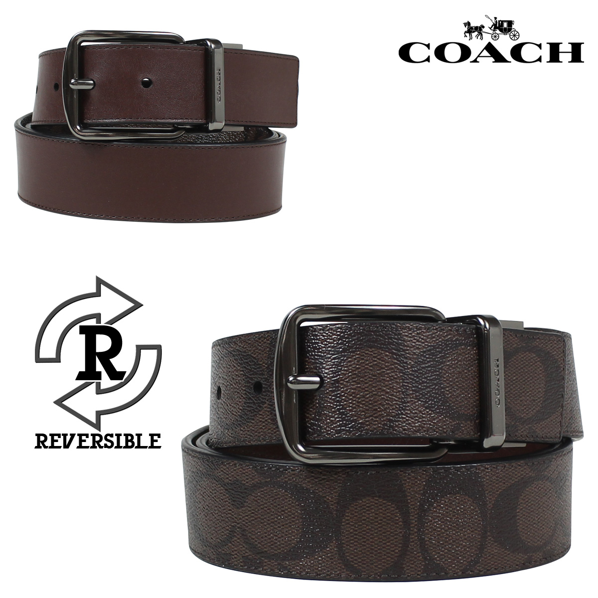 f6d1422180a95  SOLD OUT  coach COACH men s belts leather belt reversible leather F64839  mahogany x Brown  8 23 back in stock