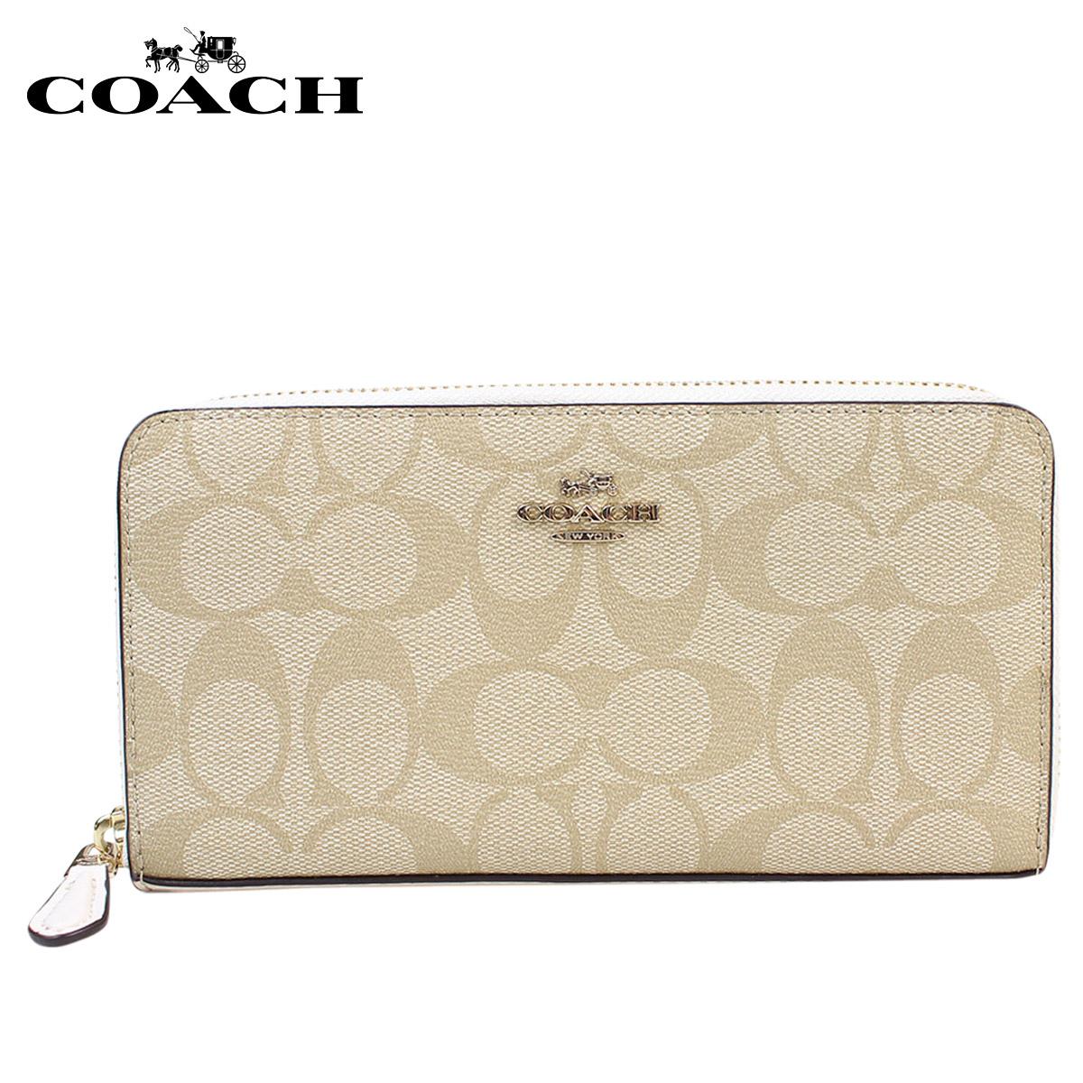 lowest price 7d531 56bdf Coach wallet COACH Lady's long wallet round fastener F54632 light khaki X  chalk [4/5 Shinnyu load] [174]