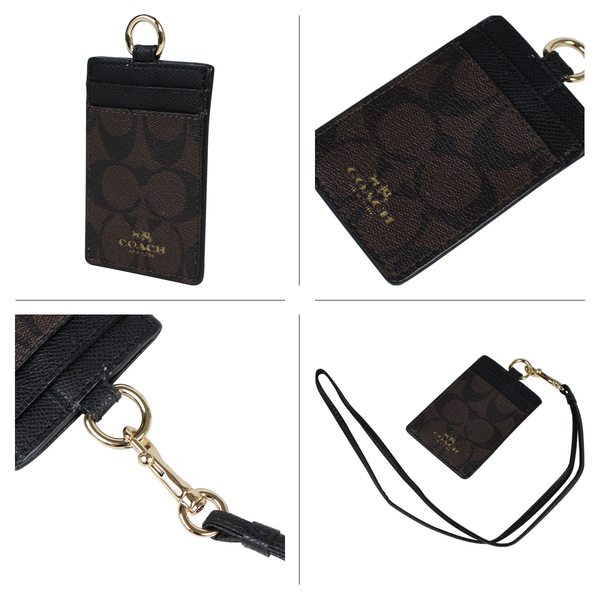 COACH coach passing card case F63274 Brown x black ladies [12 / 10 back in stock]