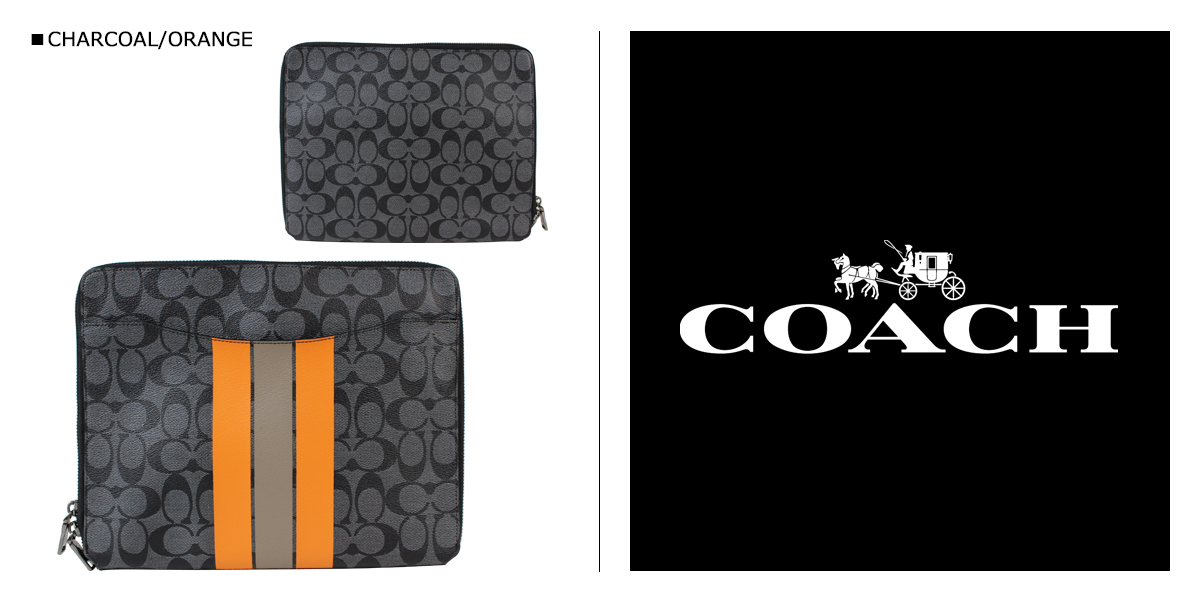 [SOLD OUT] COACH coach men's clutches Tablet PC case F66311 charcoal / Orange