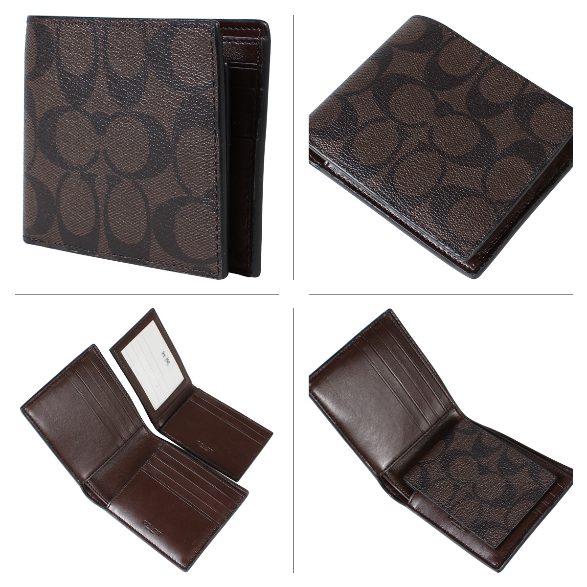 the latest 9e850 aeed1 COACH coach mens wallet two bi-fold Wallet case F74993 mahogany x Brown
