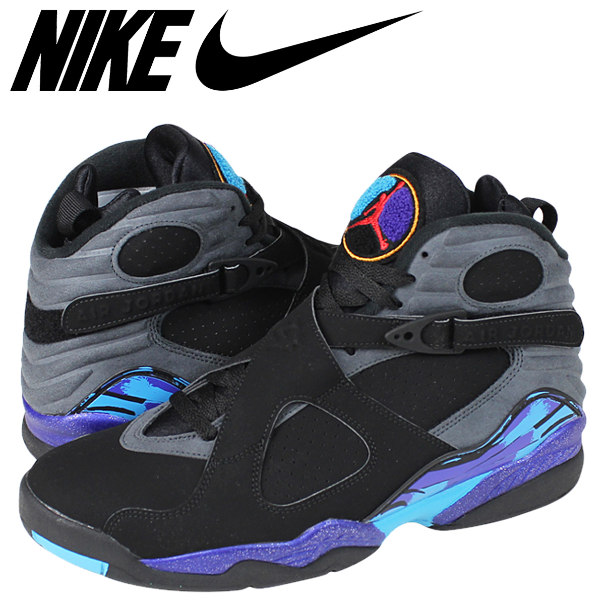 Nike NIKE Air Jordan sneakers AIR JORDAN 8 RETRO AQUA Air Jordan retro 8 Aqua 305381 025 black mens