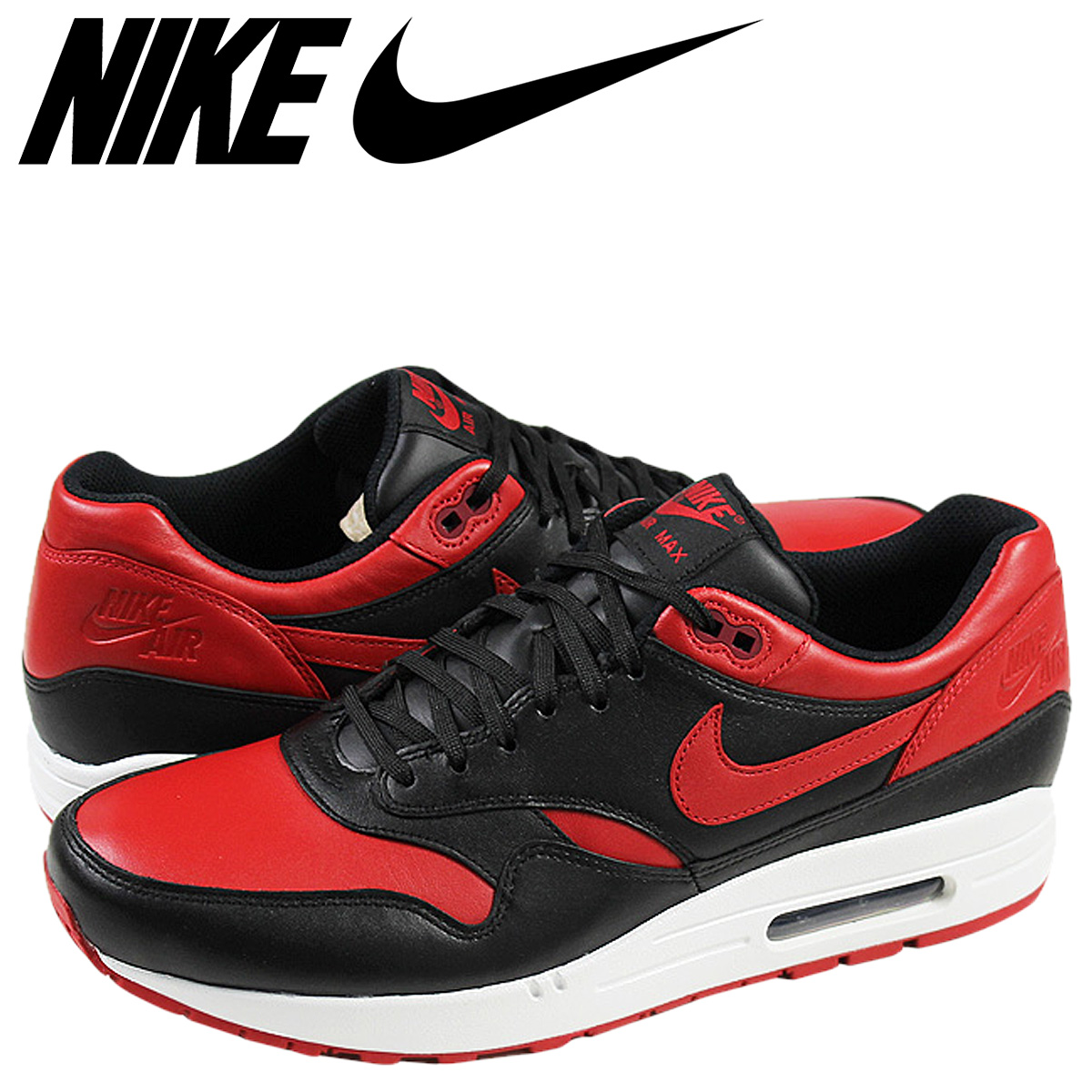 Nike NIKE Air Max sneakers MITA SNEAKERS AIR MAX 1 PREMIUM QS Air Max 1  Premium QS 665873-061 black red mens