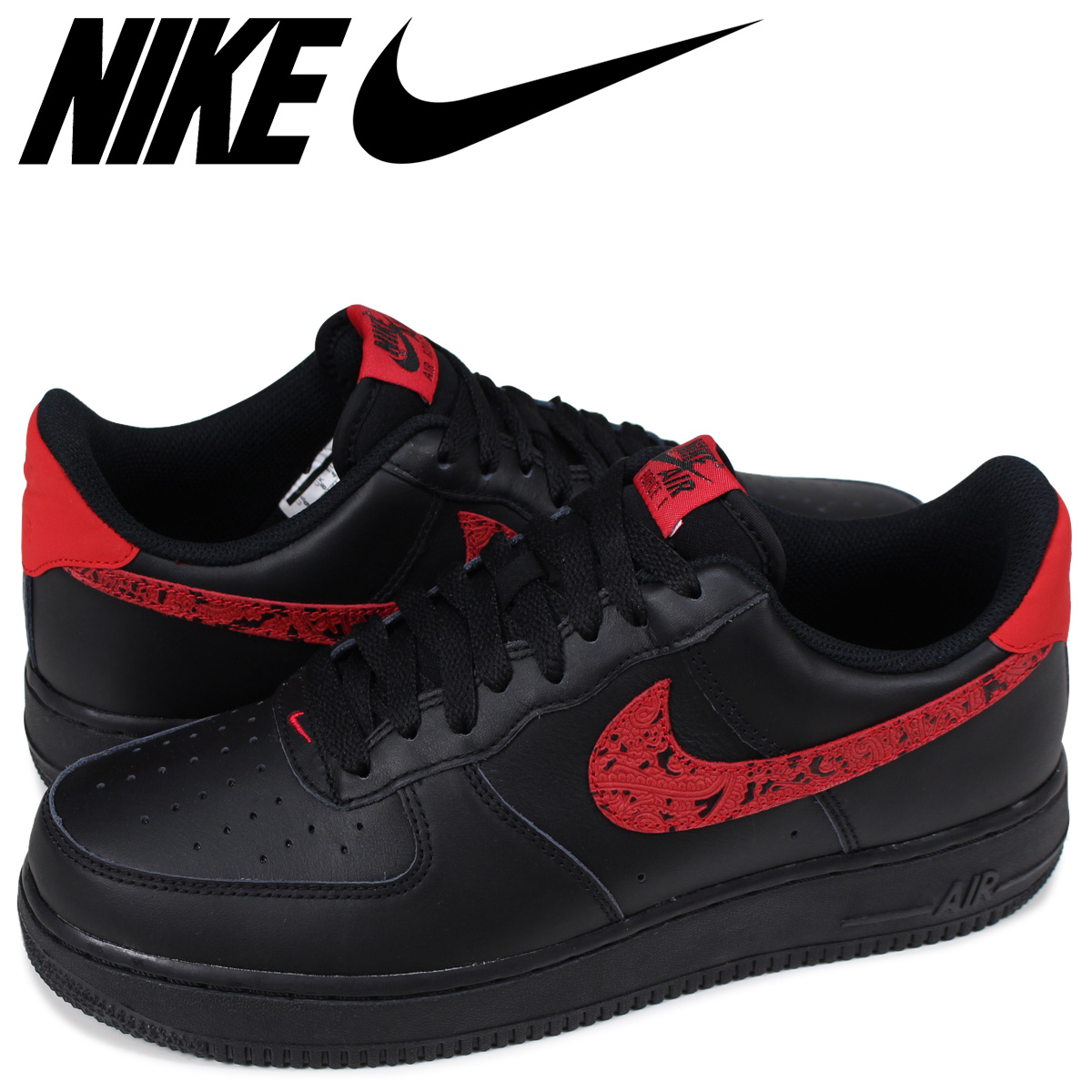 Nike Air Force 1 Low Red Paisley AO3154 001 BlackUniversity