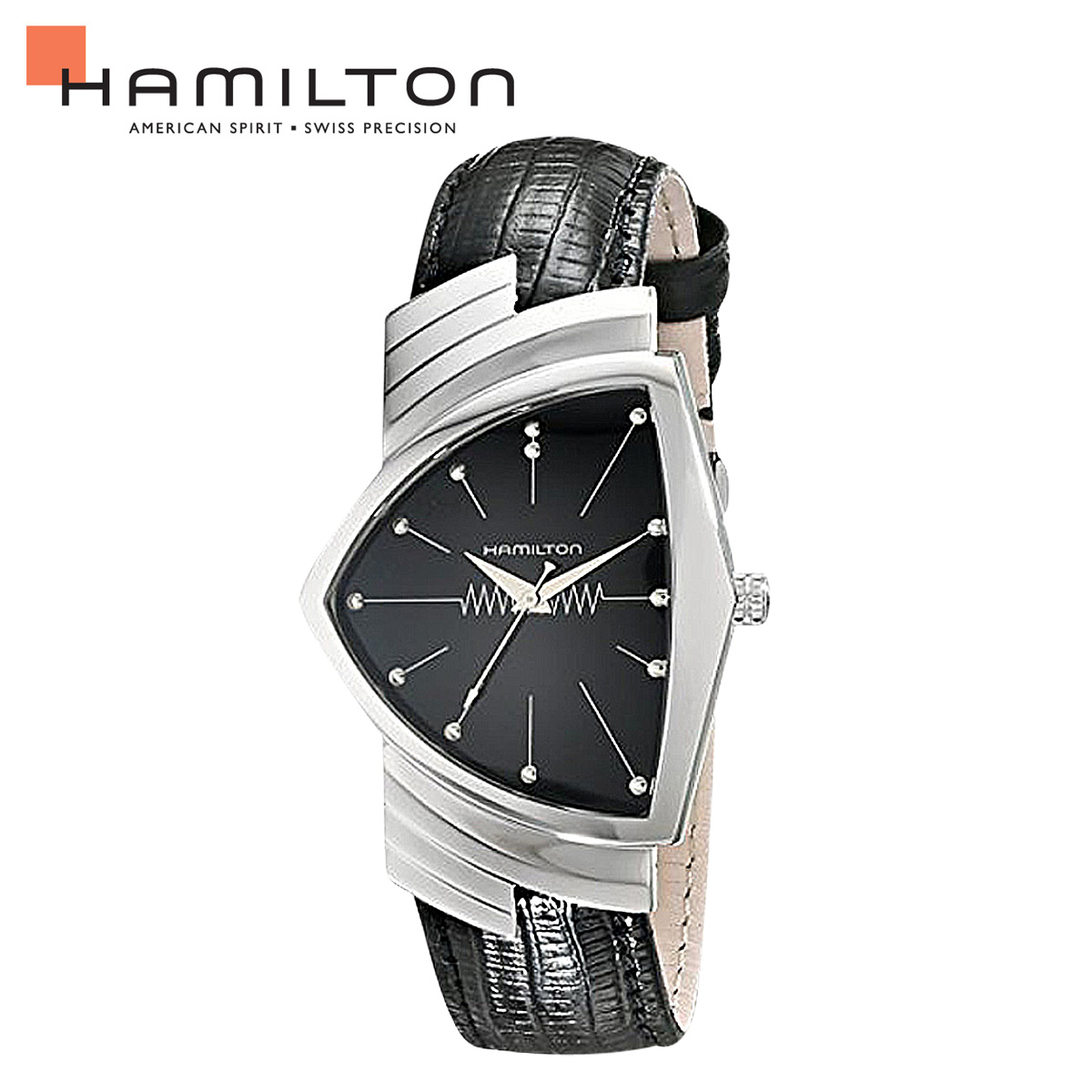 HAMILTON ハミルトン 腕時計 ベンチュラ メンズ 時計 36mm レザー VENTURA QUARTZ H24411732 ブラック 防水 【あす楽対象外】【返品不可】