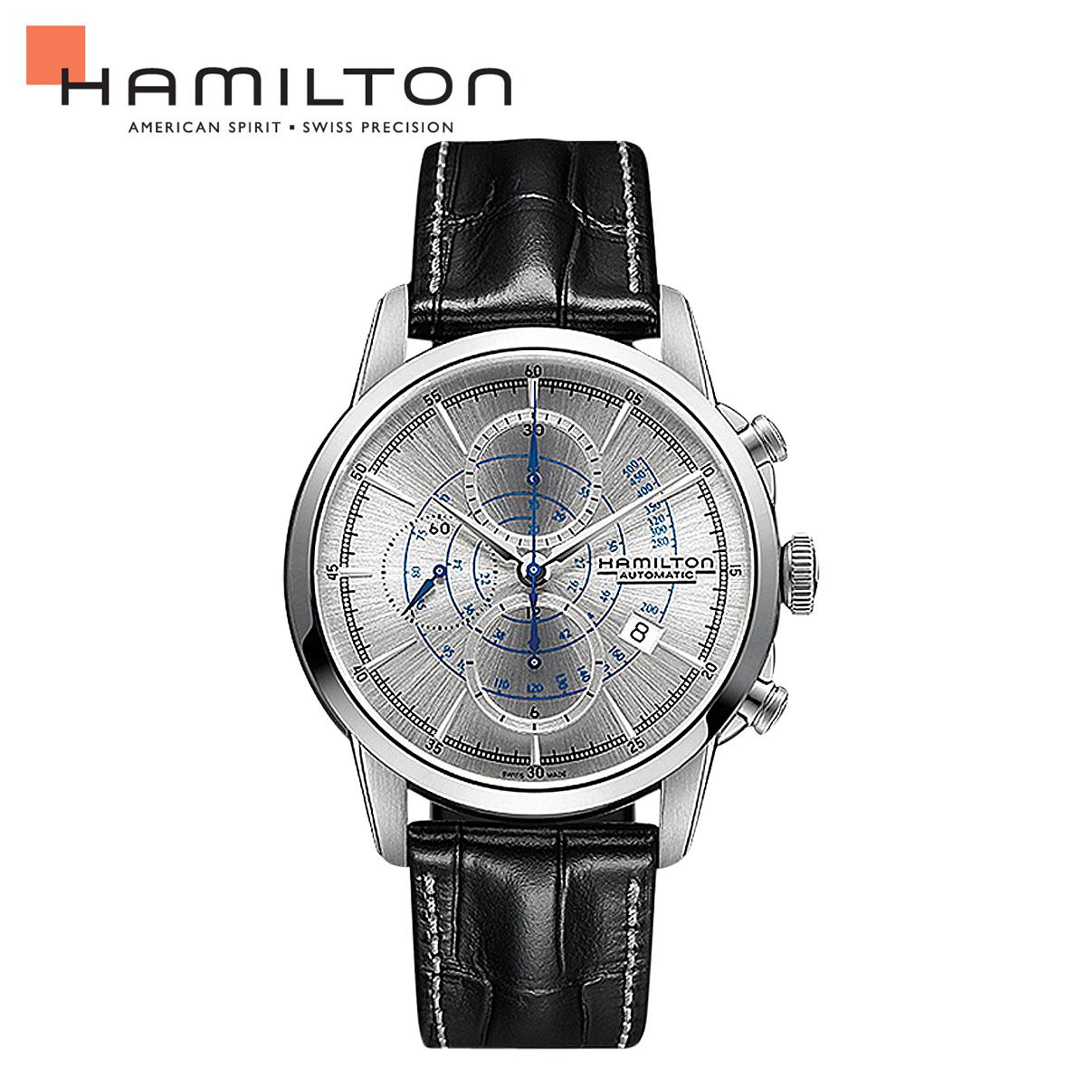 HAMILTON ハミルトン 腕時計 アメリカン クラシック メンズ 時計 44mm AMERICAN CLASSIC RAILROAD AUTO CHRONO H40656781 ブラック 防水 【あす楽対象外】【返品不可】