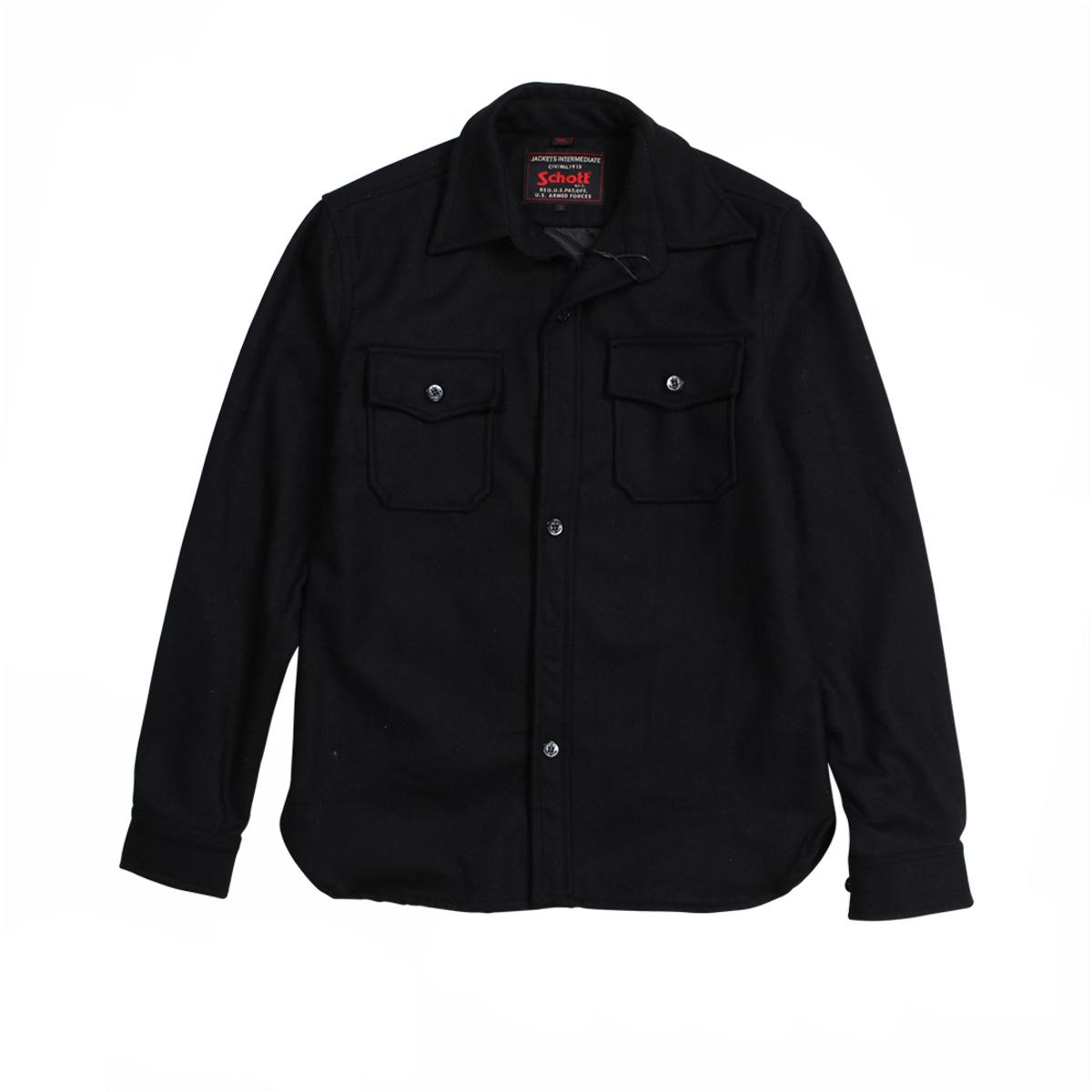 【訳あり】 ショット Schott ジャケット シャツジャケット メンズ EMBELLISHED CPO WOOL SHIRT ブラック 7710