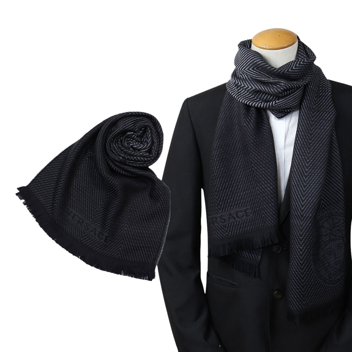 50761f9cd Product made in bell search VERSACE scarf Versace men wool Italy casual  business black black 0645 ...