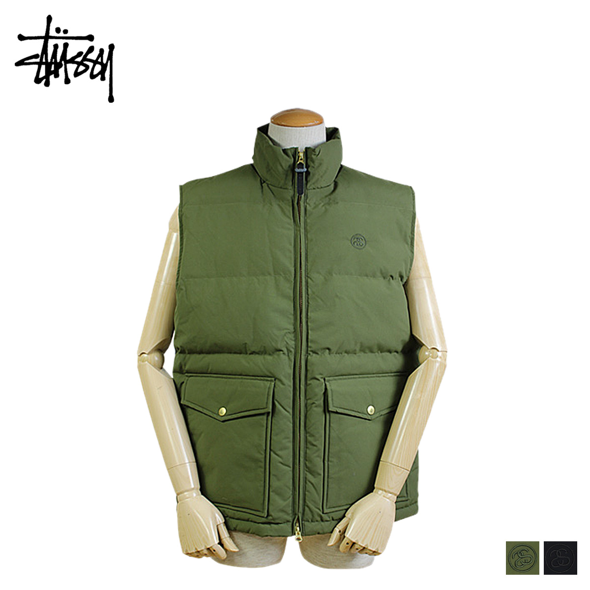 2f068a1a1f Stussy STUSSY best click black olive 115172 VEST-men s  regular  02P20Sep14