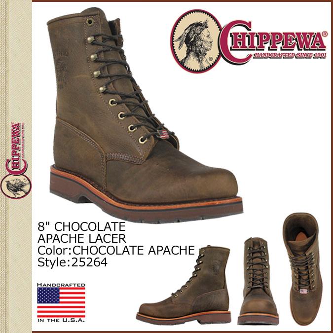 奇珀瓦奇珀瓦 8 英寸工作靴 [巧克力 Apache] 25264 8 寸巧克力 APACHE 激光 2 明智皮革男装