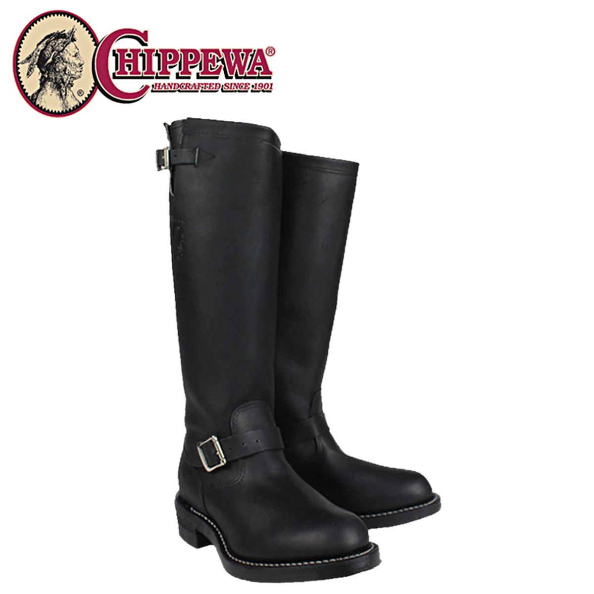 f550e4c72d7 [SOLD OUT]-Chippewa CHIPPEWA Engineer Boots [Black] 27908 17INCH BLACK  ODESSA ENGINEER BOOT D wise leather men's [regular]