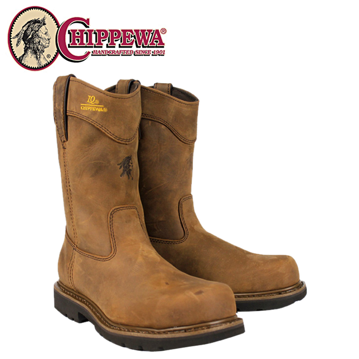 a21c54cfc36 [SOLD OUT]-Chippewa CHIPPEWA 10 inch work boots [heavy dirty] 55035 10 inch  TOUGH BARK STEEL TOE WELLINGTON IQ 2 wise LEATHER mens HEAVY DUTY ...