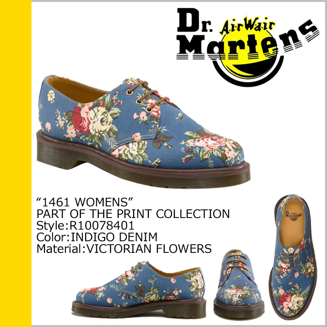 Dr. Martens 1461 WOMENS 3 Dr.Martens Hall shoes [Indigo] R10078401 PRINT denim women's 3 EYE SHOE [regular]