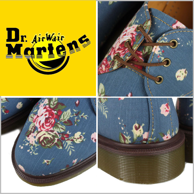 Dr. Martens 1461 WOMENS 3 Dr.Martens Hall shoes [Indigo] R10078401 PRINT denim women's 3 EYE SHOE [regular]