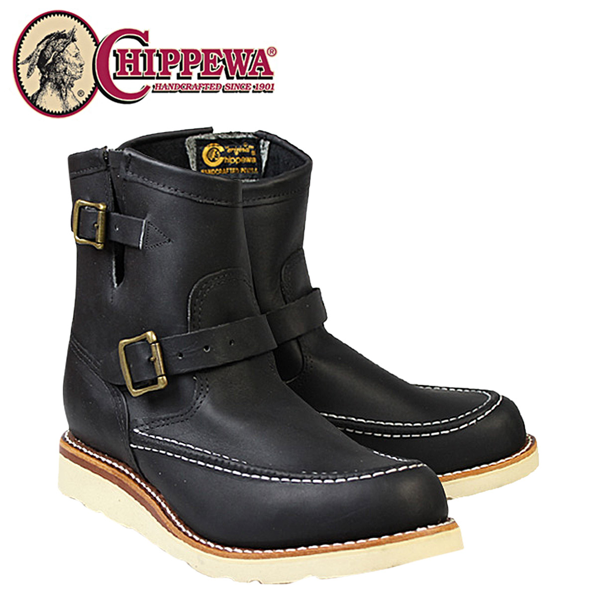[SOLD OUT]CHIPPEWA chipewa 7英寸嘲笑二技術員長筒靴黑色97879 7INCH MOC TOE ENGINEER BOOTS 2懷斯皮革人]