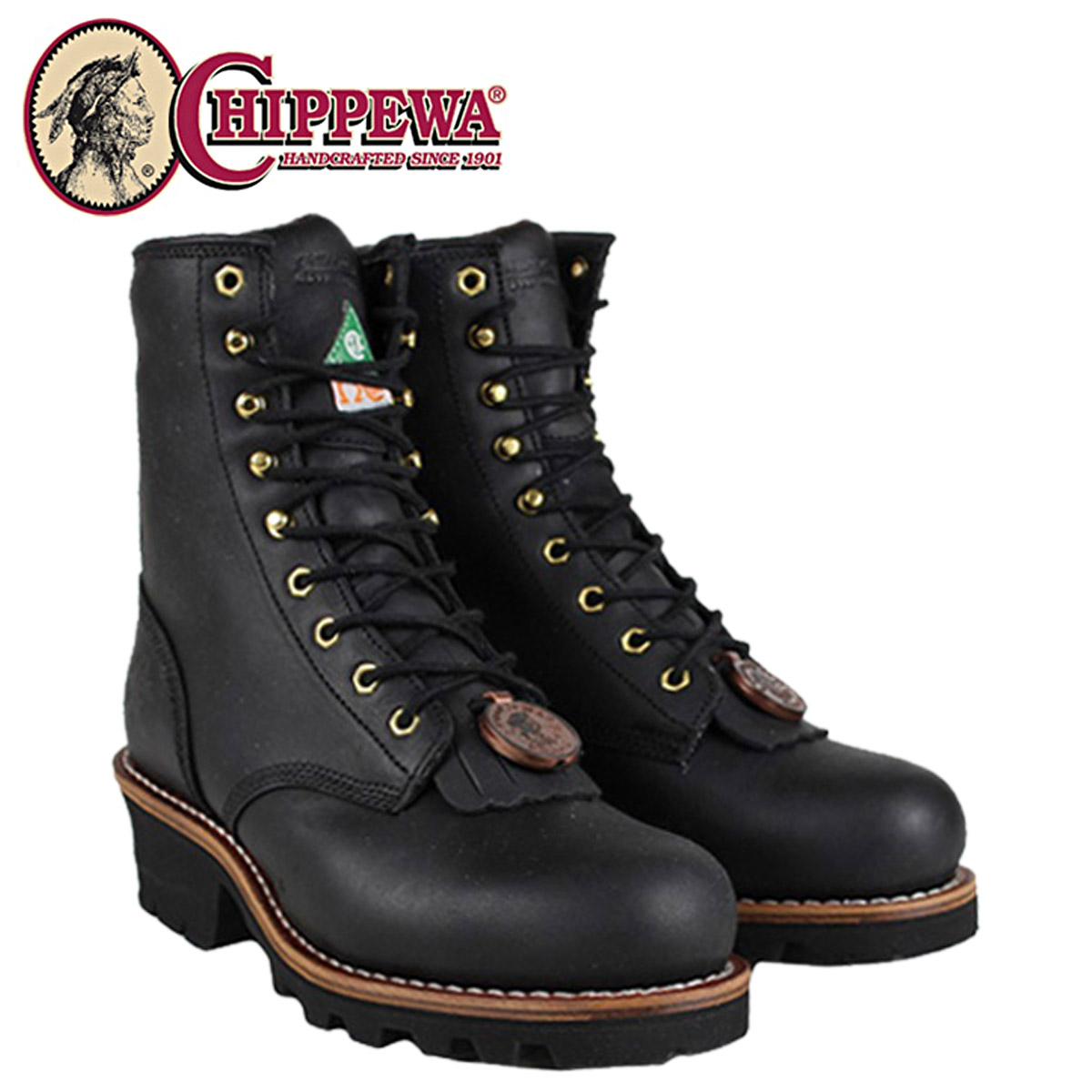 acbb297dcb5 Chippewa CHIPPEWA 8-inch logger boots CA73020 8INCH BLACK STEEL TOE LOGGER  2 wise leather mens BLACK