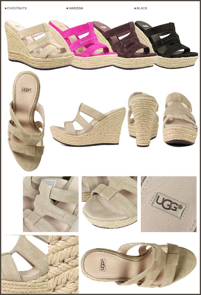 ★ 38% ★ UGG UGG women's tawny wedge Sandals 100404 TAWNIE WOMENS suede women's adhesive