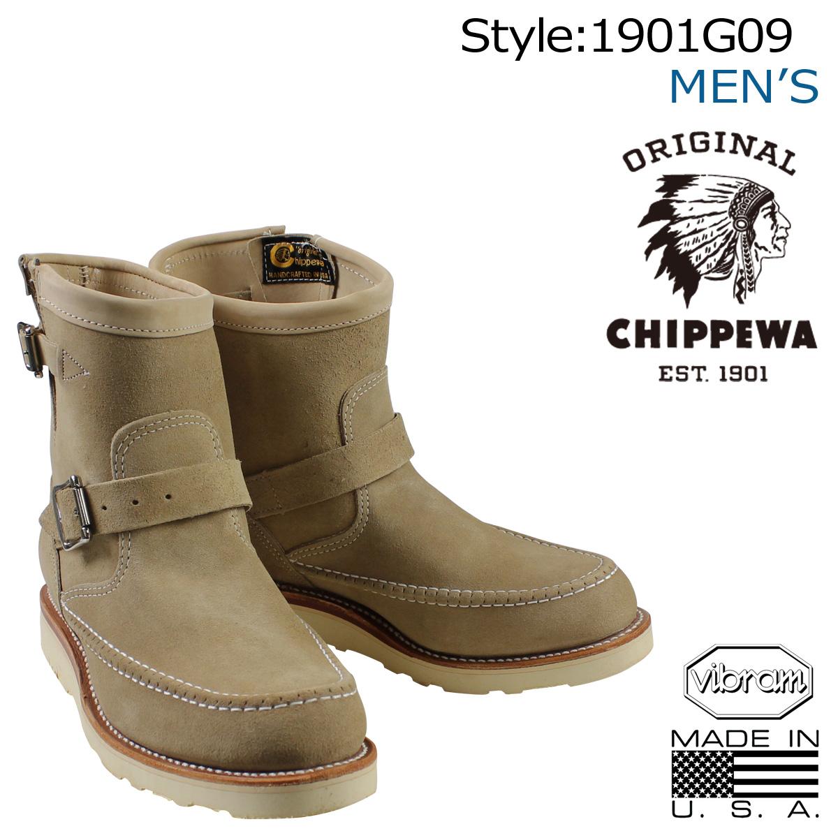 CHIPPEWA 7INCH HIGHLANDER ENGINEER チペワ ブーツ 7インチ ハイランダー エンジニア 1901G09 Eワイズ サンド メンズ